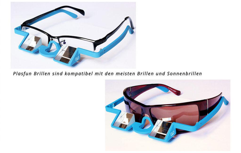 Die Y&Y Plasfun Prismenbrille läßt sich mit den meisten optischen Brillen oder Sonnebrillen kombinieren – praktisch für Brillenträger (Foto: Y&Y Vertical)..