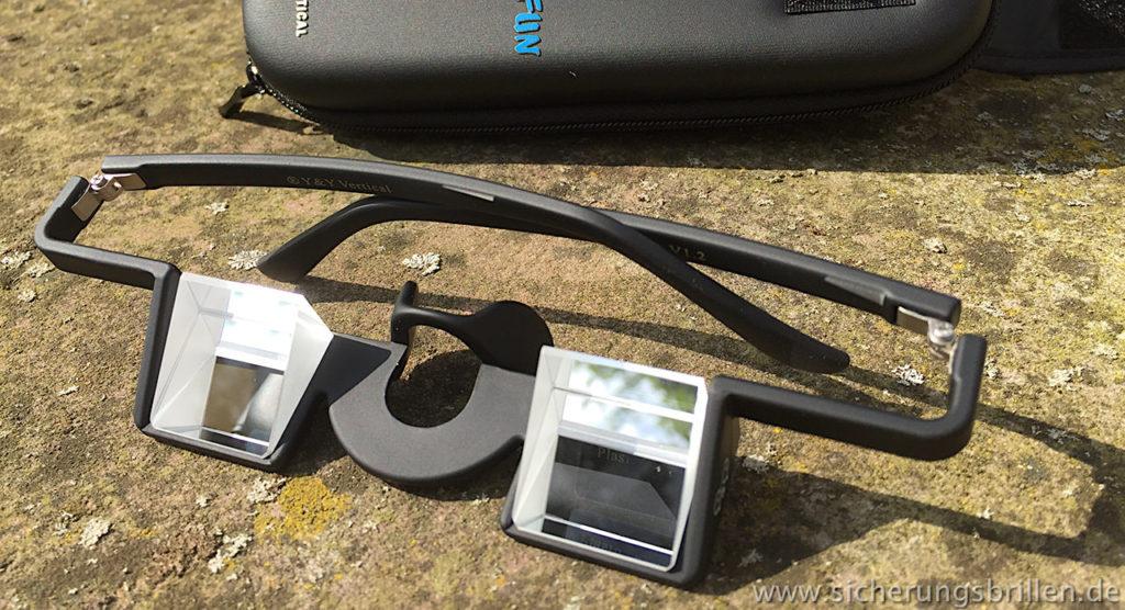 Auf diesem Foto mal komplett: Die Y&Y Sicherungsbrille namens Plasfun.